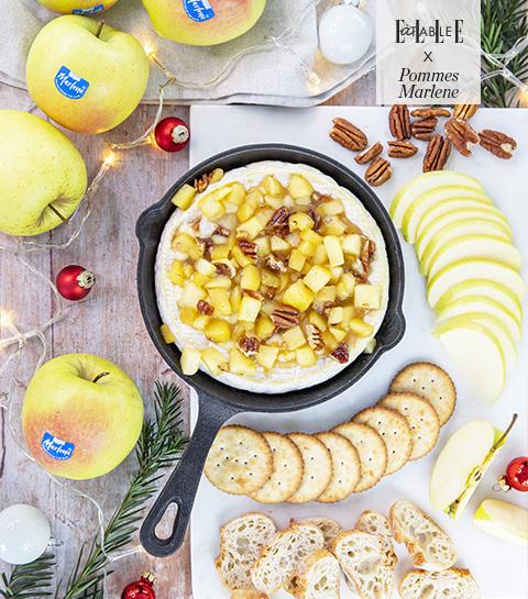 Brie au four, pommes Marlene caramélisées et noix de pécan
