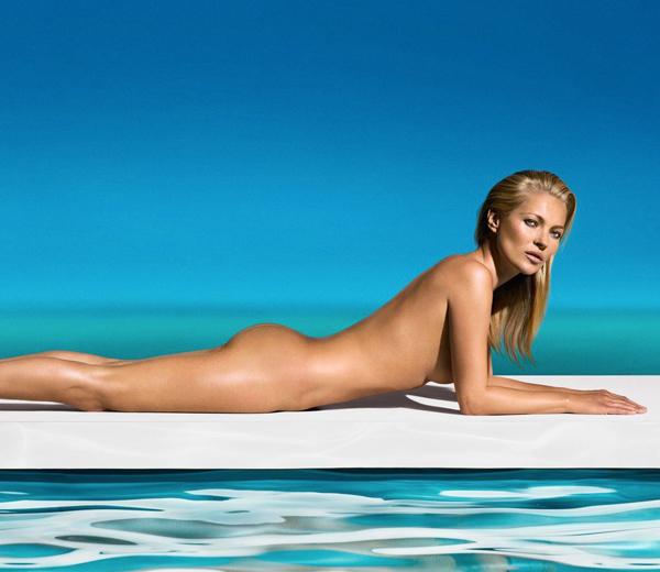 Kate Moss a posé nue pour la marque d'autobronzant St-Tropez en mai 2013