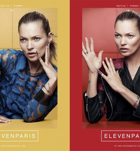 Kate Moss visage de la nouvelle campagne ELEVENPARIS