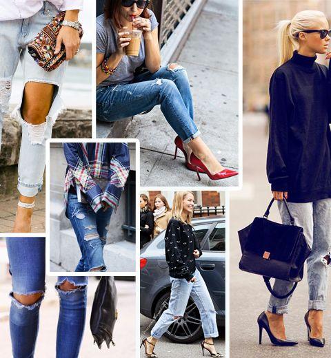 20 façons de porter le jean troué en hiver