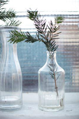 Branches de sapin dans un vase vintage blanc