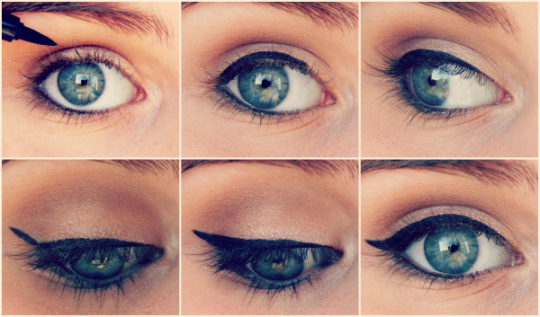 Exemple de la technique pour tracer un trait d'eye-liner parfait.