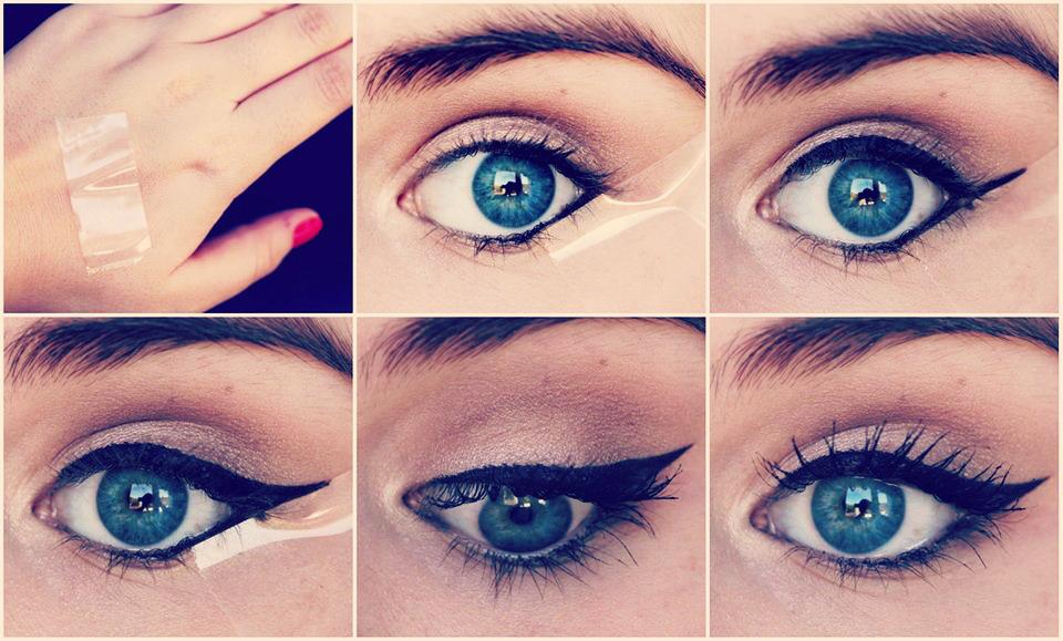 Astuce du papier collant pour tracer un trait d'eye-liner parfait.