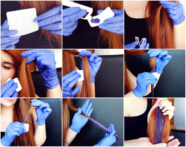 enfilez des gants nous on les a assortis au hair chalk la grande classe et saisir le papier absorbant fourni dans le kit - Coloration Cheveux A La Craie