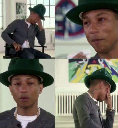 Pharrell Williams qui fond en larmes chez Oprah Winfrey