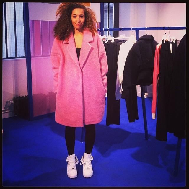 Le manteau rose en laine bouillie, 199€