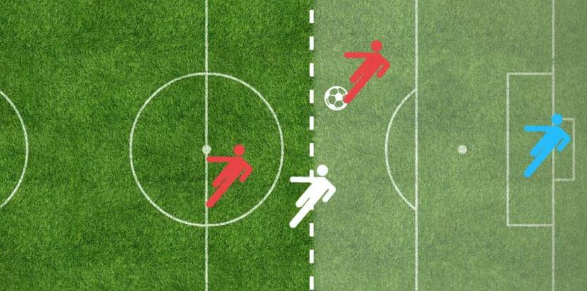 Ici le rouge est hors jeu, le défenseur, c'est le blanc.