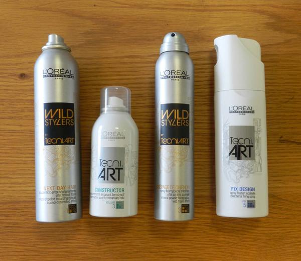 Les produits L'Oréal Professionnel utilisés pour réaliser une tresse latérale.