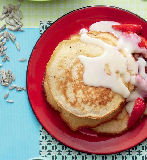 Pancakes au chocolat blanc