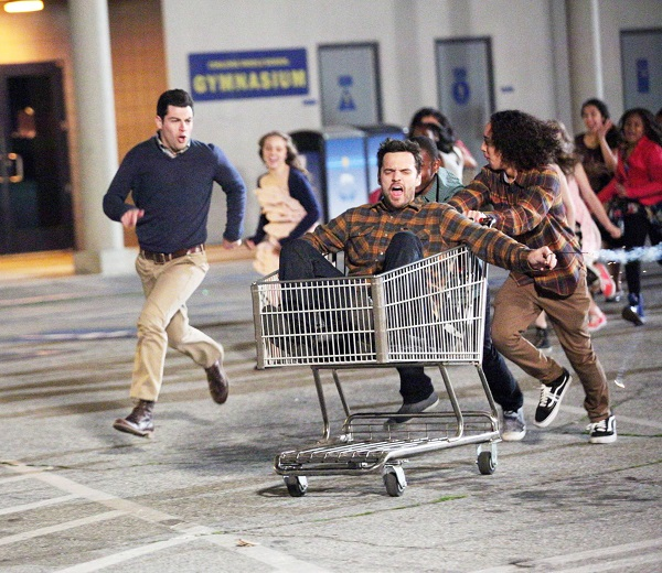 new girl, (from left): lamorne morris, max greenfield, jake johnson, 'dance', (season 3, ep. 322, aired april 29, 2014). photo: adam taylor / ©fox / courtesy everett collection