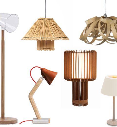 8 luminaires en bois branchés