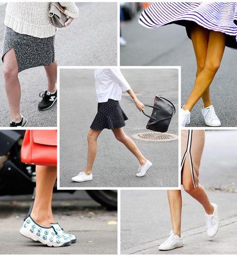 20 idées pour mixer sneakers et mini-jupe