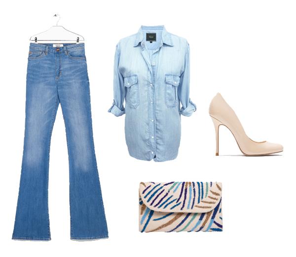 Jeans Mango (39,99€), chemise Rails (123€), pochette Ba&sh (85€), escarpins Zara (49,95€)
