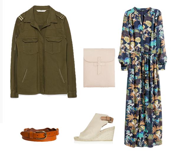 Robe H&M (39,99€), espadrilles compensées Topshop (72€), ceinture Ba&sh (105€), pochette American Apparel (85€)