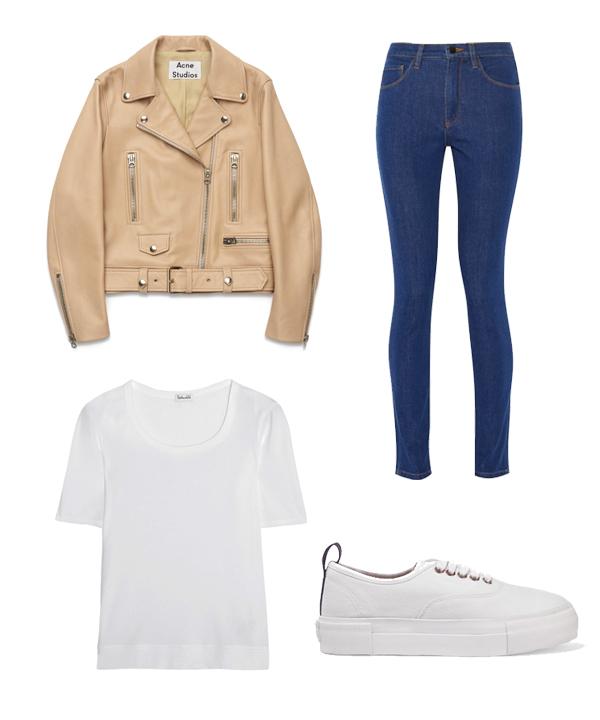 Veste en cuir Acné Studios, jeans Victoria Beckham Denim, sneakers Eytys, t-shirt Splendid