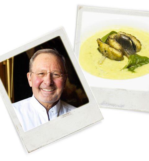 Recette: l'entrée gastronomique de Pierre Wynants. Le petit crémeux de jets de houblon au consommé de Saint Galmier, sauté d'anguilles.