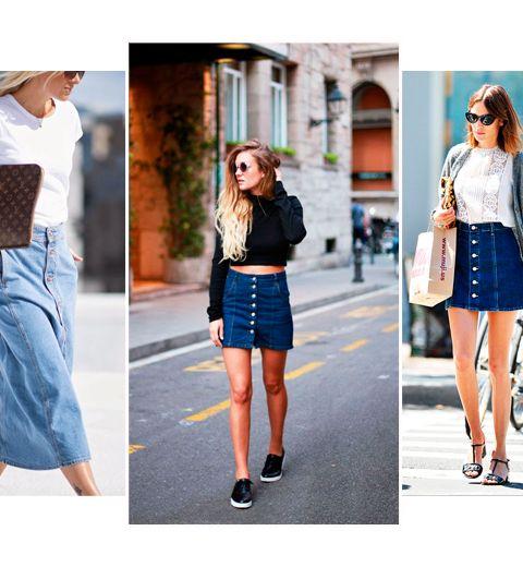 Comment porter la jupe en jeans boutonnée