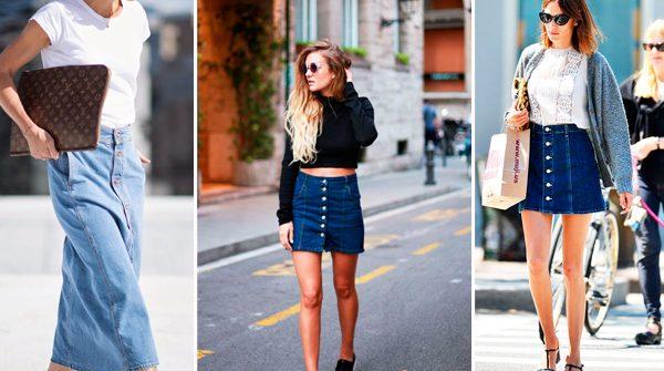 Comment porter la jupe en jeans boutonnée - ELLE.be.   6cc13936fee