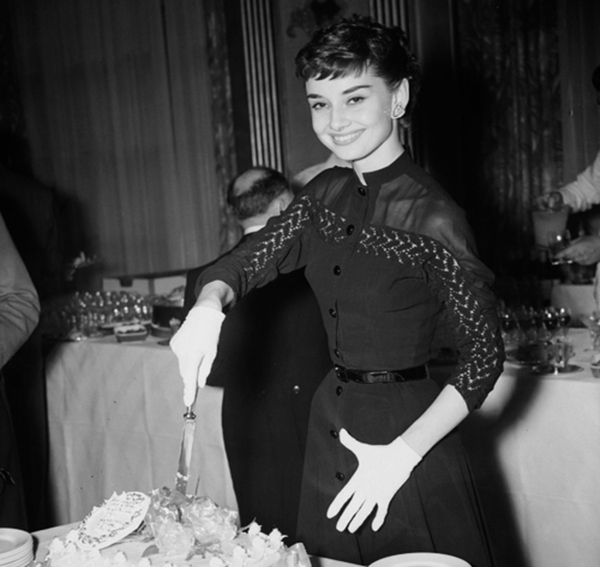 Audrey Hepburn at her Welcome Home party at Claridge's after filming Roman Holiday May 21st 1953
