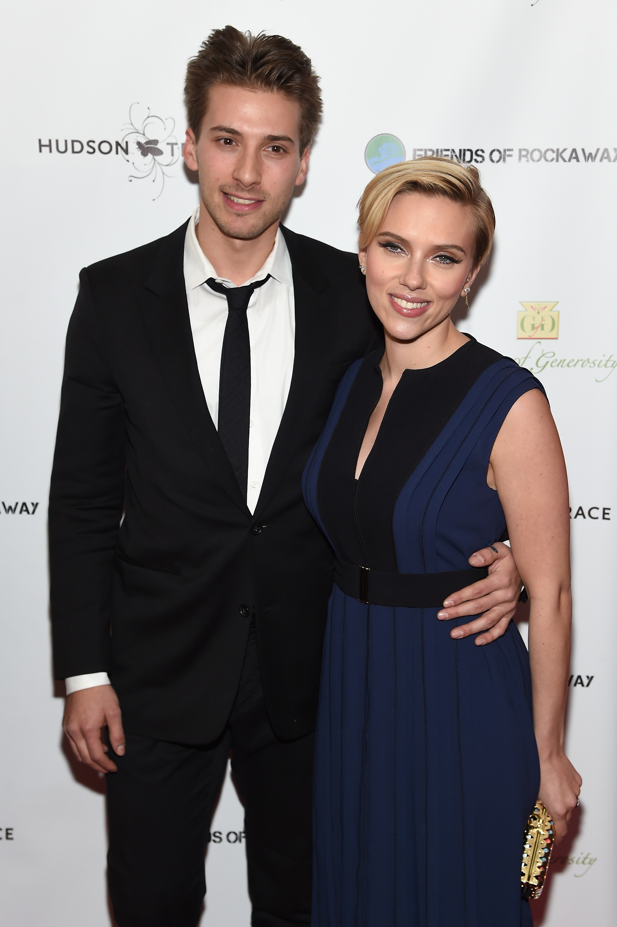 NEW YORK, NY - NOVEMBER 18:  Actors Hunter Johansson (L) and Scarlett Johansson attends the Friends Of Rockaway 2nd annual Hurricane Sandy fundraiser at Hudson Terrace on November 18, 2014 in New York City.  (Photo by Jamie McCarthy/Getty Images for Friends of Rockaway)