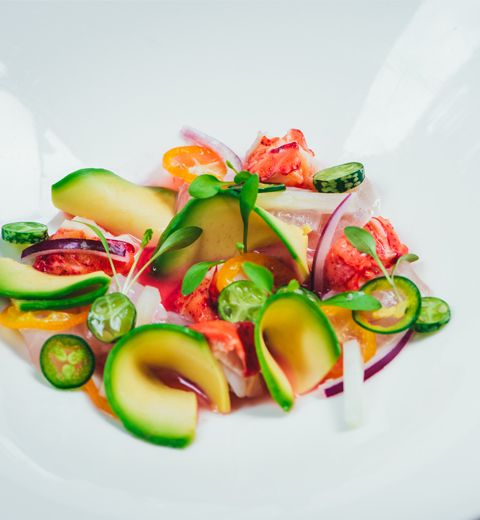 Civiche de dorade et de homard, Ocean Spray Cranberry Light, citron, piment de Jalapeno, coriandre et avocat