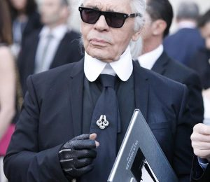 HYERES, FRANCE - APRIL 23:    German designer Karl Lagerfeld during the opening of the 30th International Festival Of Fashion and Photography on April 23, 2015 in Hyeres, France.This year Karl Lagerfeld is artistic director of the 2015 promotion.  (Photo by Patrick Aventurier/Getty Images)