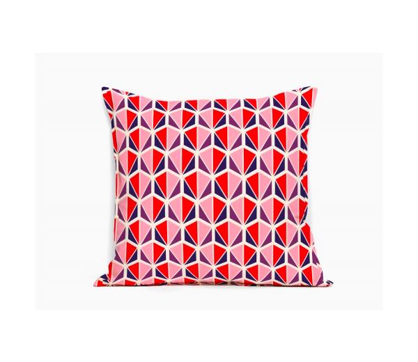 19.Coussin Design Facettes rouge