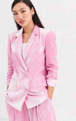 blazer en velours rose