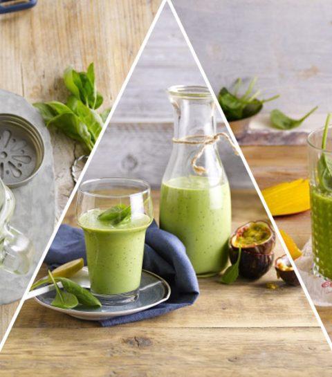 3 smoothies verts sans gluten et sans lactose