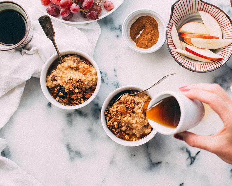 des céréales et du porridge pour les sportives