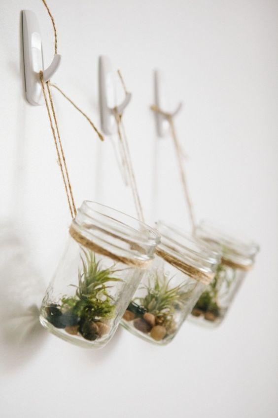Dans des petits pots en verre suspendus.