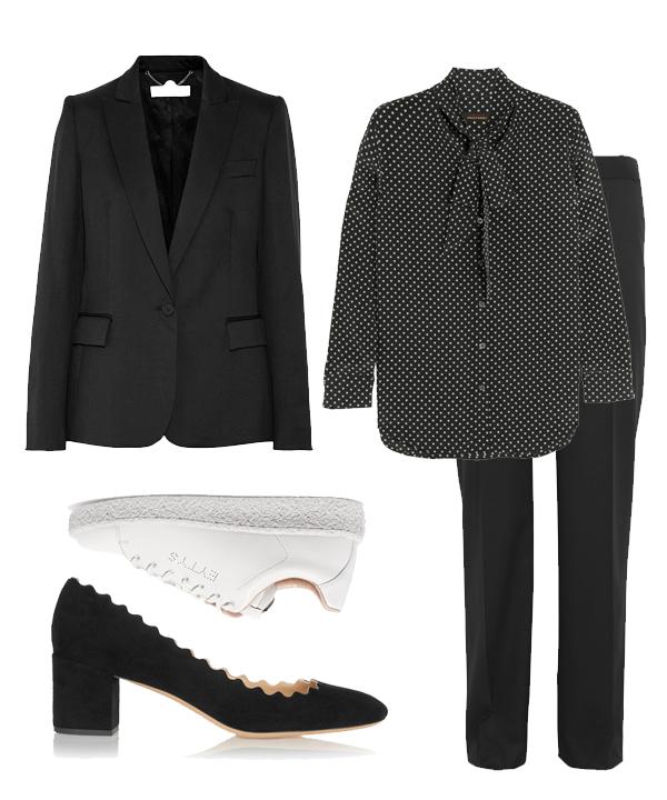 Tailleur Stella McCartney, chemise Equipment, escarpins Chloé et sneakers Eytys