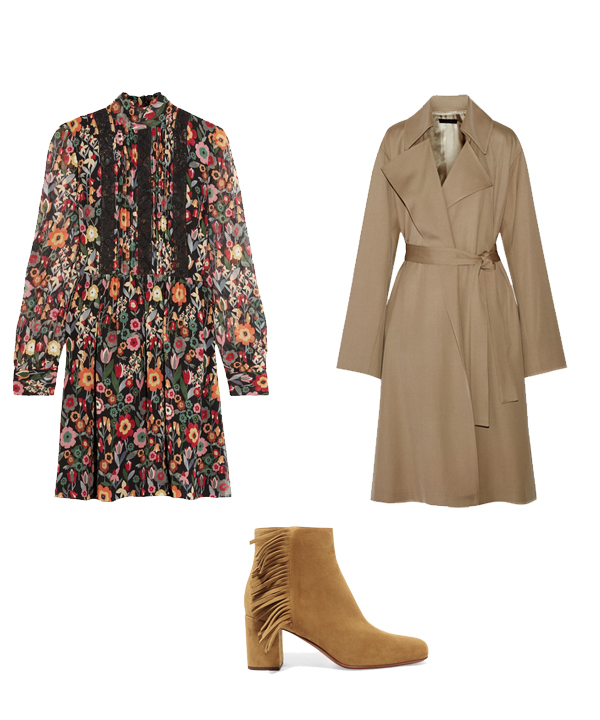Robe RedValentino, trench The row, boots Saint Laurent