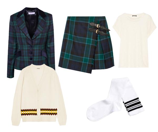 Veste en tartan Scotland Shop, jupe Burberry, cardigan Miu Miu, t-shirt Balmain, chaussettes H&M