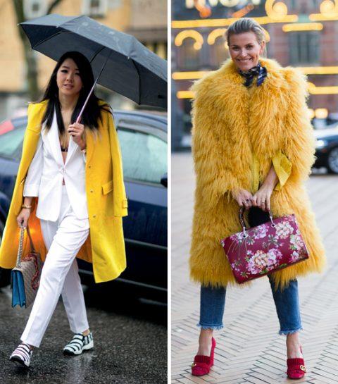 Comment porter le manteau jaune cet hiver ?