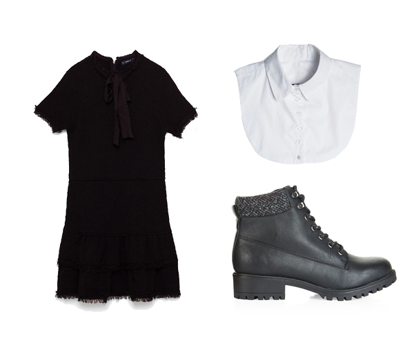 Robe Zara (49,95€), bottines New Look (39,99€), Col amovible Asos (23,99€) la paire