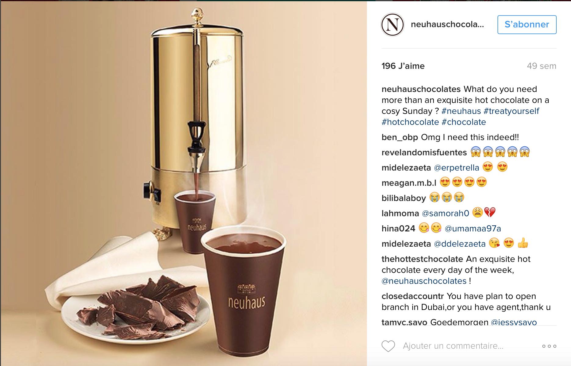 chocolat chaud Bruxelles Neuhaus