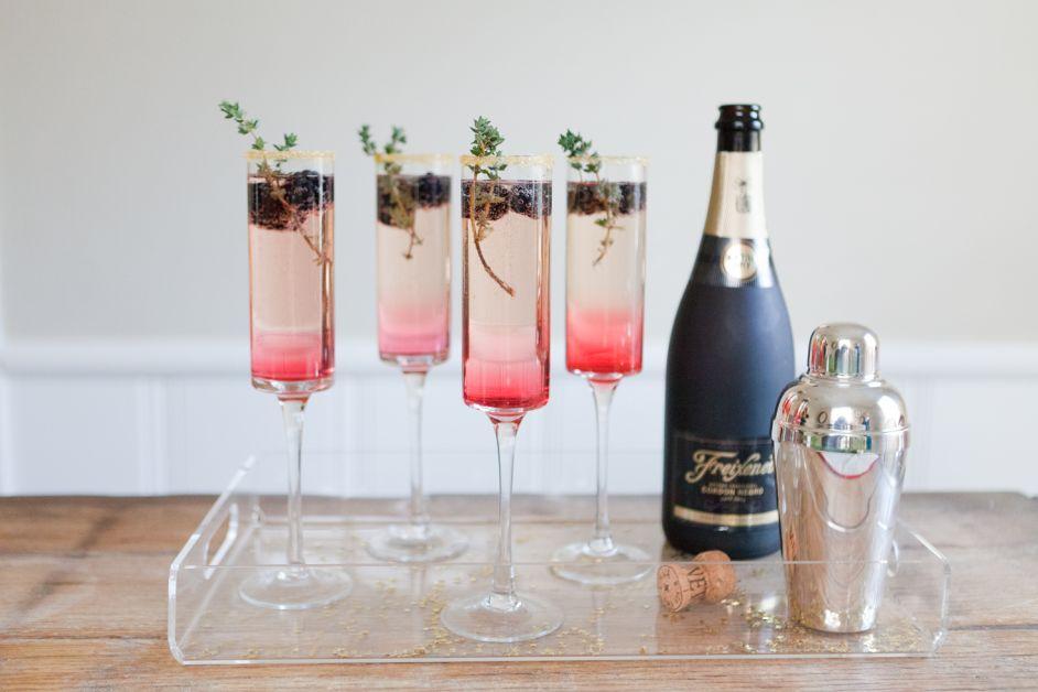 Cocktail mûres et thym
