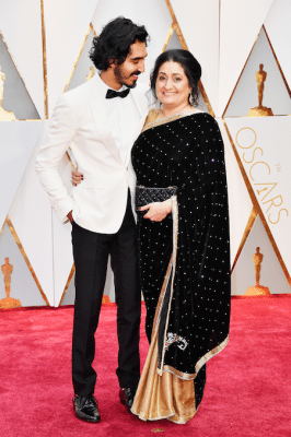 oscars-2017-live-best-dressed-red-carpet-rode-loper-koppels-Dev-Patel-Anita-Patel