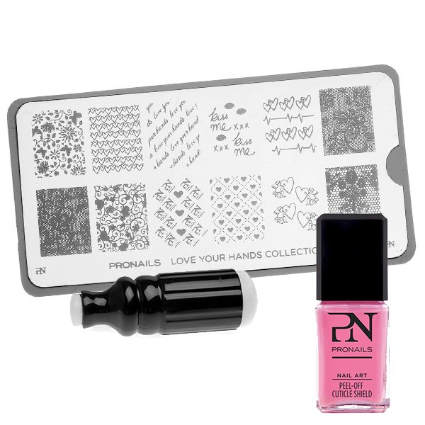 Plaquette de stamping Love Your Hands de Pronails + Tampon Art Stamp + Film de Protection Cuticules - 14,50€, 10,50€ & 8,30€