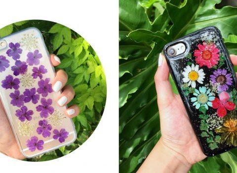 Les coques de smartphone en fleurs séchées