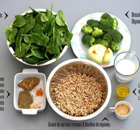 Un risotto de sarrasin, épinard et brocoli
