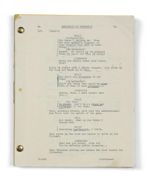 Script de Breakfast at Tiffany's entre 60 000 et 80 000 £