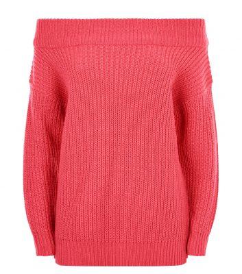 pull-rose-côtelé-à-col-bardot-et-épaule-dénudée