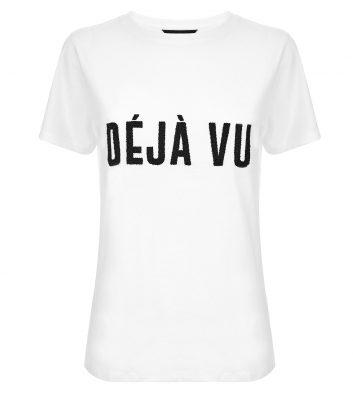 t-shirt-blanc-à-slogan-«déjà-vu»