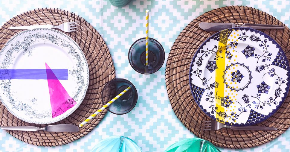 DIY assiettes vintage colorées