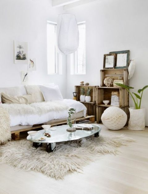 photo d'un salon cosy avec un tapis fluffy