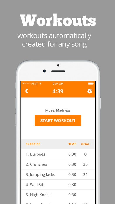 Application One song workout