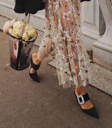 Aimee_song_of_style_Paris_fashion_week_PFW_Chanel_floral_Dress_Roger_Vivier_mules-2