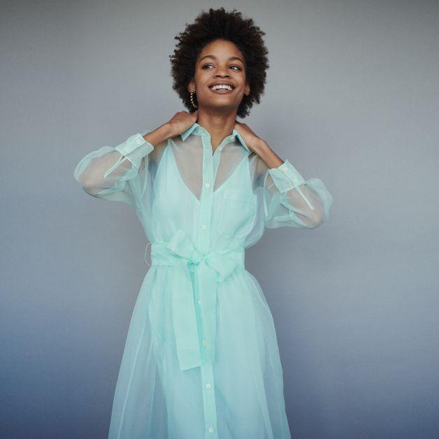 robe turquoise organza